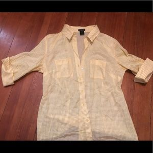 Ann Taylor White & Yellow Button Up