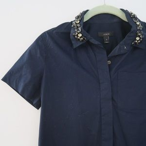 J. Crew Embellished Collar Button Down Shirt