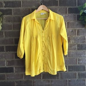 Ninety Yellow Cotton Button Down Blouse