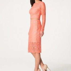 Bebe lace 2 fer dress in orange/nude underlay SM
