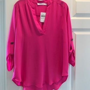 Lush neon pink size medium tunic blouse