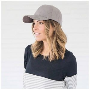 New grey faux suede baseball hat