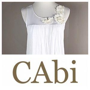 CABI WHITE SEMI SHEER TANK WITH BUBBLE HEM NWOT