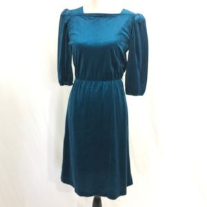 Vintage 80s Teal Velvet Secretary Dress M