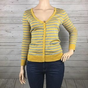 FOREVER 21 Yellow & Gray Striped Cardigan