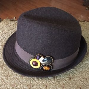 Brown Wool Fedora Hat w Faux Stone Embellishments