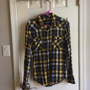 Hurley black/yellow flannel