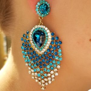 Blue Crystal Peacock Feather Earrings