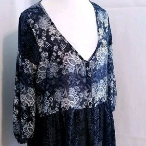 Ecote Urban Outfitters Blouse Womens L Blue Floral
