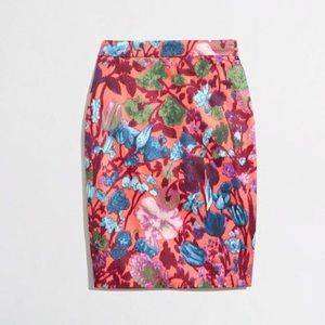 J. Crew Flame Floral Pencil Skirt