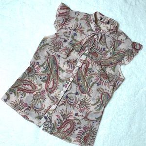 Romantic Paisley Floral Tie Neck Button Up Tank M