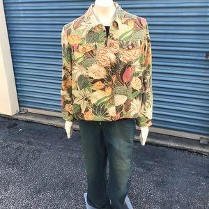 vintage tropical button-up denim shirt / jacket