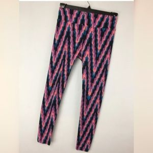 LulaRoe OS Leggings Black Pink Geometric Stretch