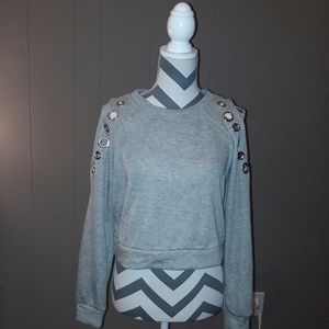 Grey crop top sweat shirt