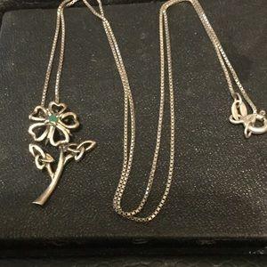 Vintage Sterling Silver Emerald Necklace