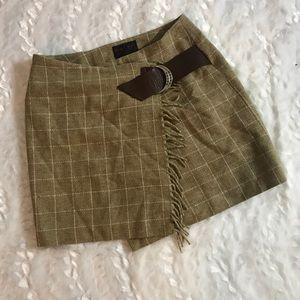 RALPH Ralph Lauren Wool Plaid Belted Skirt