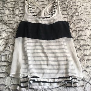 Express. Size small. Black and white tank.