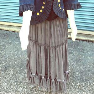 Dresses & Skirts - vintage gray paneled bohemian maxi skirt sz 2 - 3x