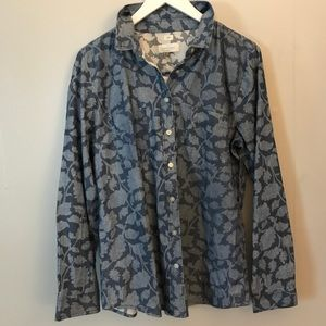 NWT Ann Taylor Loft Floral Chambray Button up L