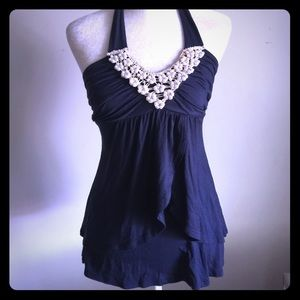 Navy blue halter with pearl detail size Small