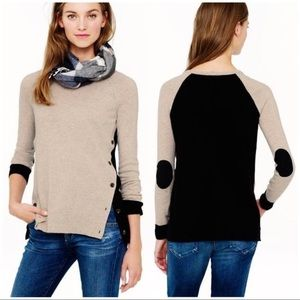 J Crew Side Button Colorblock Elbow Patch Sweater
