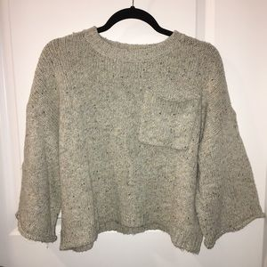 Cropped Speckled Fleck Crewneck Sweater