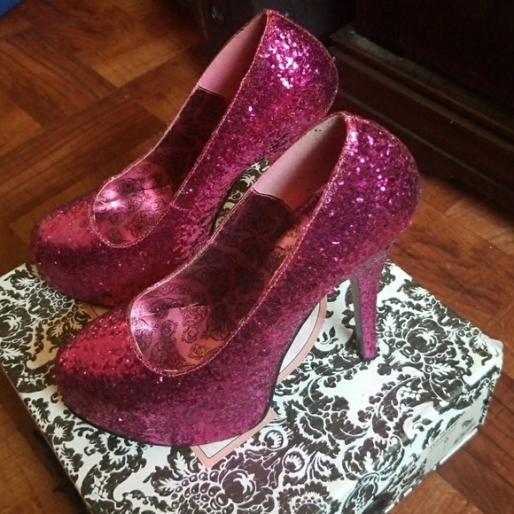 Pink High Glitter Burlesque Bordello Heels j53R4LqA