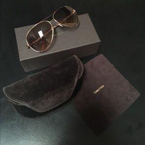 Tom Ford Charles Gold Aviator Sunglasses