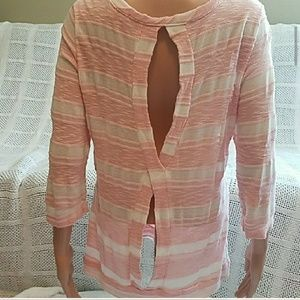 Anthro pink white 3/4 sleeve sweater