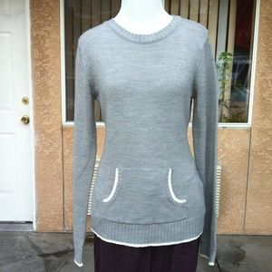 Tiara Gray Crew Neck Sweater w/ Pocket