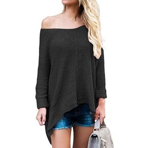 Black over sized 3/4 length sleeve sweater