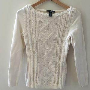 WHBM studded front cable knit sweater