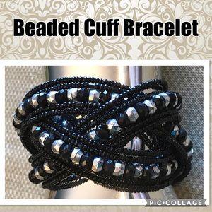 Black & Silver Cross Beaded Cuff Bracelet