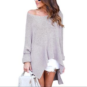 Grey oversized 3/4 length sleeve sweater