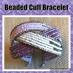 Purple, Lavender, Silver & White Cross Beaded Cuff