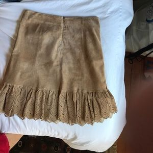 Anthropologie (Elevenses) tan suede skirt, size 4