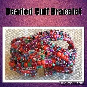 Orange, Aqua, & Red Cross Beaded Cuff Bracelet