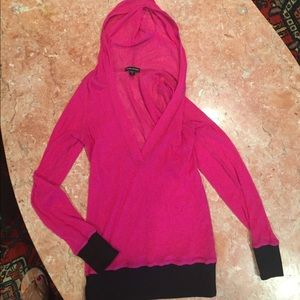 BEBE SPORT HOT PINK HOODED FISH NET TOP SIZE S