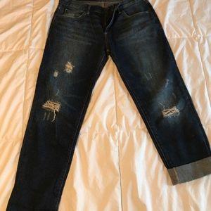 Gap Sexy Boyfriend Jeans Dark Wash 26 R Distressed