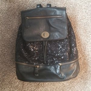 Deux Lux black sequin leather backpack