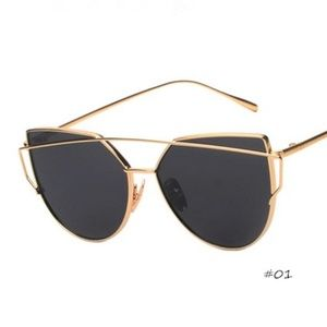 Gold & black metal frame sunglasses