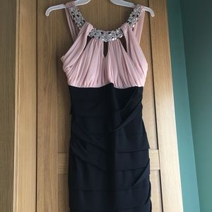 Short pink/black cocktail dress