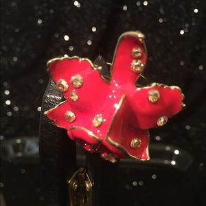 H&M Versace Enamel Orchid Flower Red Ring
