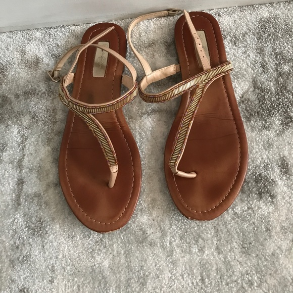 5f37e9370 Jessica Simpson Shoes - Jessica Simpson gold beaded strappy sandals flat