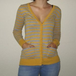 mustard and grey striped cardigan