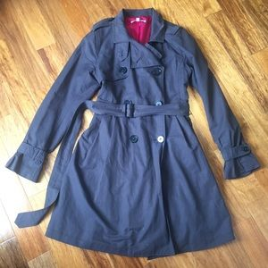 GAP Charcoal Grey Belted Trench with Pink Lining