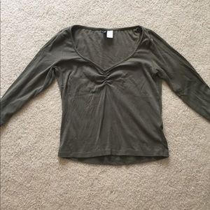 H&M olive scoop neck shirt