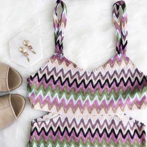 lovers + friends • cutout crochet mini dress