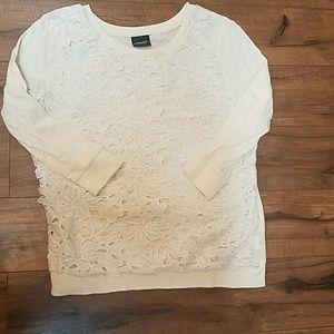 Cream Flower Pattern Sweater