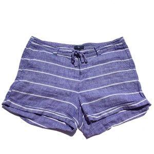 Gap Sz 8 Blue and white Linen Blend Shorts
